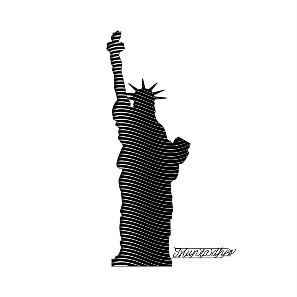 the liberty statue line art Artwork